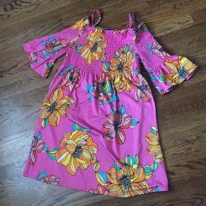 Trina Trina Turk Pink Flowered Sun Dress